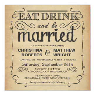 Vintage Poster Rustic Wedding - Square 5.25x5.25 Square Paper Invitation Card