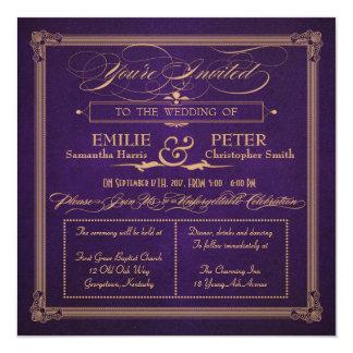 Vintage Poster Style Aubergine Purp Square Wedding Card