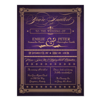 Vintage Poster Style Aubergine Purple Wedding Card