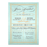 "Vintage Poster Style Blue Wedding Invitation 5"" X 7"" Invitation Card"