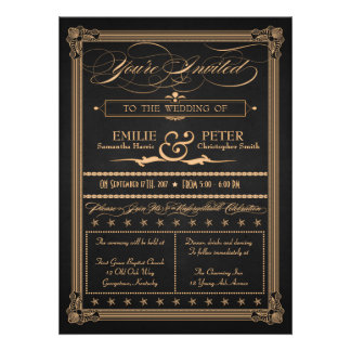 Vintage Poster Style Charcoal and Gold Wedding Invite