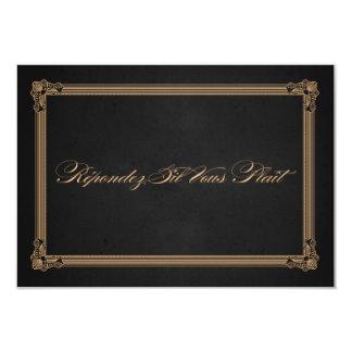 Vintage Poster Style Charcoal & Gold Wedding RSVP Invitation