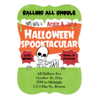 "Vintage Poster Style Halloween Invitation 5"" X 7"" Invitation Card"