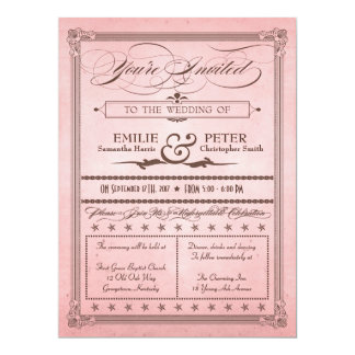 Vintage Poster Style Pink & Brown Wedding Invite