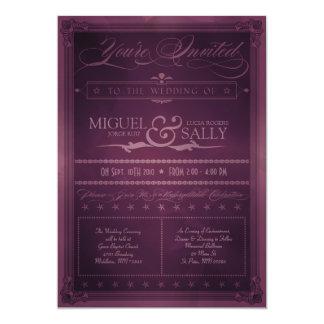 Vintage Poster Style Purple DIY Wedding Invitation