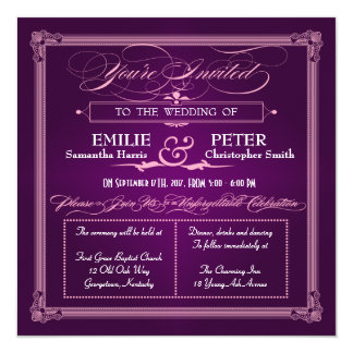 Vintage Poster Style Purple Wedding Invitations