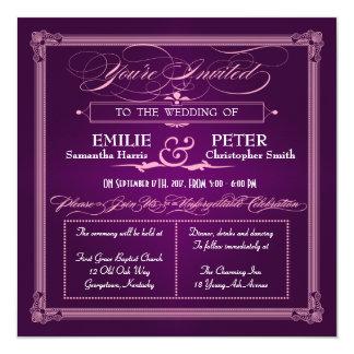 Vintage Poster Style Purple Wedding Invitations