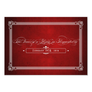 Vintage Poster Style Red & Silver Meal Choice RSVP Personalized Invite