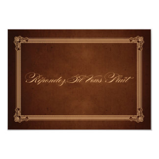 Vintage Poster Style Rich Brown Wedding RSVP Announcements