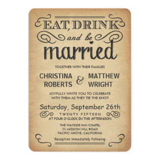 Vintage Poster Style Rustic Wedding Invitations