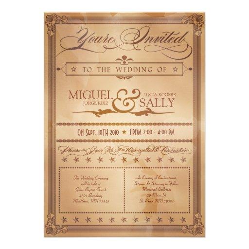 Vintage Poster Style Sepia DIY Wedding Invitation 5 X 7