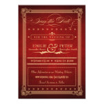 """Vintage Poster Sumptuous Red Save the Date 5"""" X 7"""" Invitation Card"""