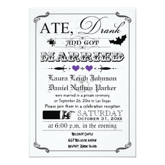 Vintage Poster Wedding Invite - Halloween, Purple