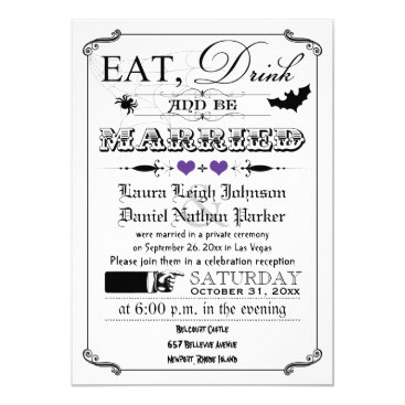 Halloween Themed Vintage Poster Wedding Invite - Halloween, Purple