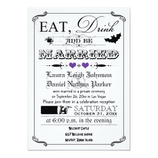 Vintage Poster Wedding Invite - Halloween, Purple