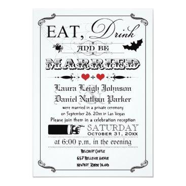 Vintage Poster Wedding Invite - Halloween, Red