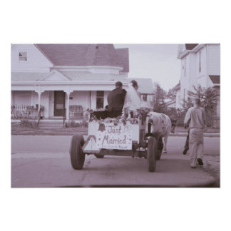 Vintage Poster with Antique Car and Street Scene