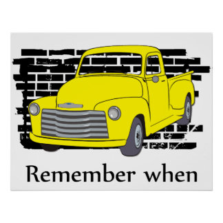 Vintage Poster with Old Yellow Truck and Brick Wal