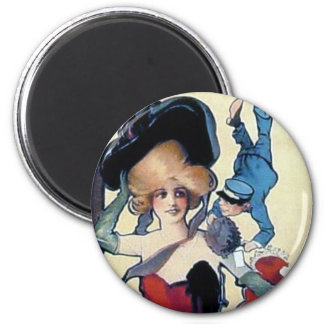 vintage poster woman bell boy red dress magnet
