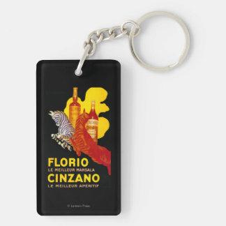 Vintage PosterEurope de Florio Cinzano Llavero Rectangular Acrílico A Doble Cara