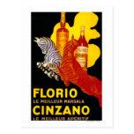Vintage PosterEurope de Florio Cinzano Tarjeta Postal
