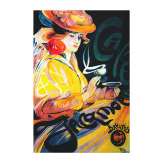 Vintage PosterEurope de Jacqmotte Caf� Impresiones En Lona Estiradas