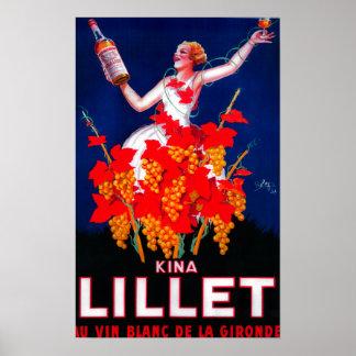 Vintage PosterEurope de Lillet de las kinas Póster