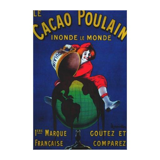 Vintage PosterEurope de Poulain del cacao Lona Envuelta Para Galerías