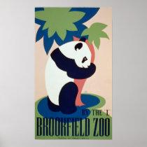 Vintage Posters,Brookfield Zoo Panda Bear WPA Poster