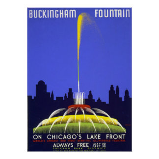 Vintage Posters, Chicago Buckingham Fountain WPA Poster