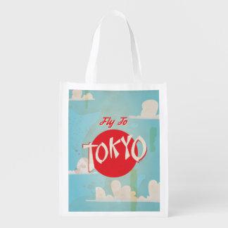 Vintage posters del viaje de Tokio, Japón Bolsa Reutilizable