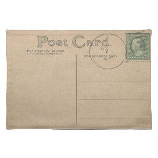 Vintage Postmarked Postcard Blank  - Place Mat