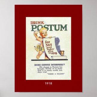 Vintage Postum 1918 New Year Baby Ad Poster