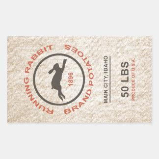 Vintage Potato Sack Rectangular Sticker