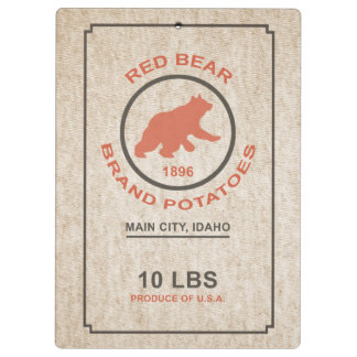 Vintage Potato Sack (Red Bear Brand) Clipboard