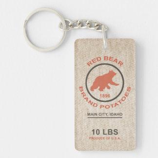 Vintage Potato Sack (Red Bear Brand) Double-Sided Rectangular Acrylic Keychain