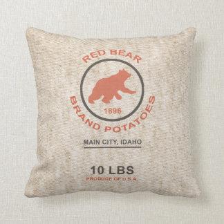 Vintage Potato Sack (Red Bear Brand) Throw Pillow