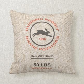 Vintage Potato Sack Throw Pillow