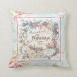 Vintage Poudre de Liz Label Pillow