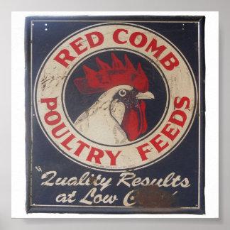 Vintage Poultry Feeds Sign Poster