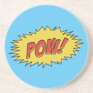 Vintage Pow! Comic Sound Effect Sandstone Coaster