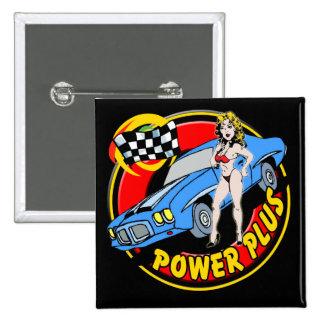 Vintage Power Plus Retro Muscle Car Button