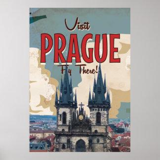 Vintage Praga, poster del viaje de la República