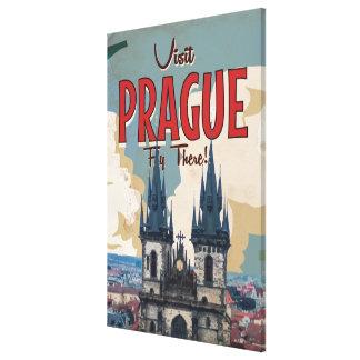 Vintage Prague, Czech Republic Travel Poster Stretched Canvas Print