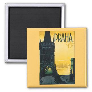 Vintage Prague (Praha) Poster 2 Inch Square Magnet