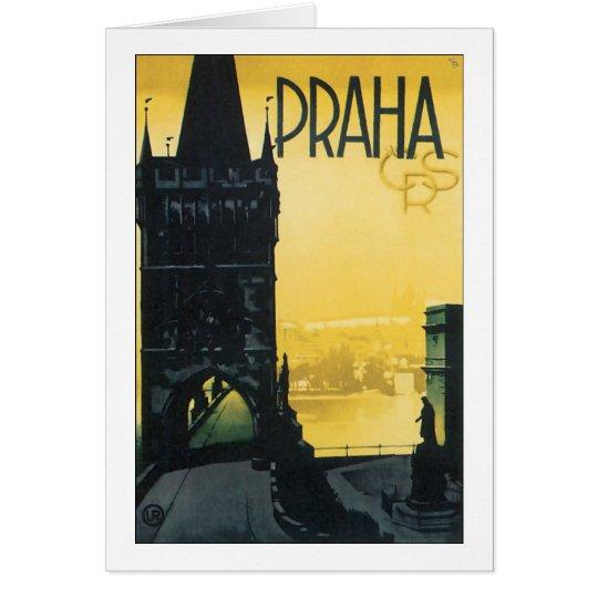 Vintage Prague (Praha) Poster Card