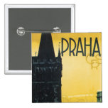 Vintage Praha Poster 2 Inch Square Button