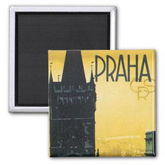 Vintage Praha Poster 2 Inch Square Magnet