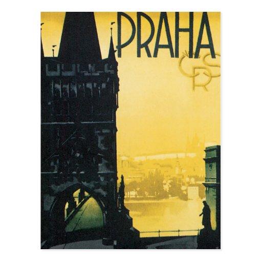 Vintage Praha Poster Postcard