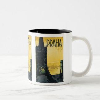 Vintage Praha Poster Two-Tone Coffee Mug
